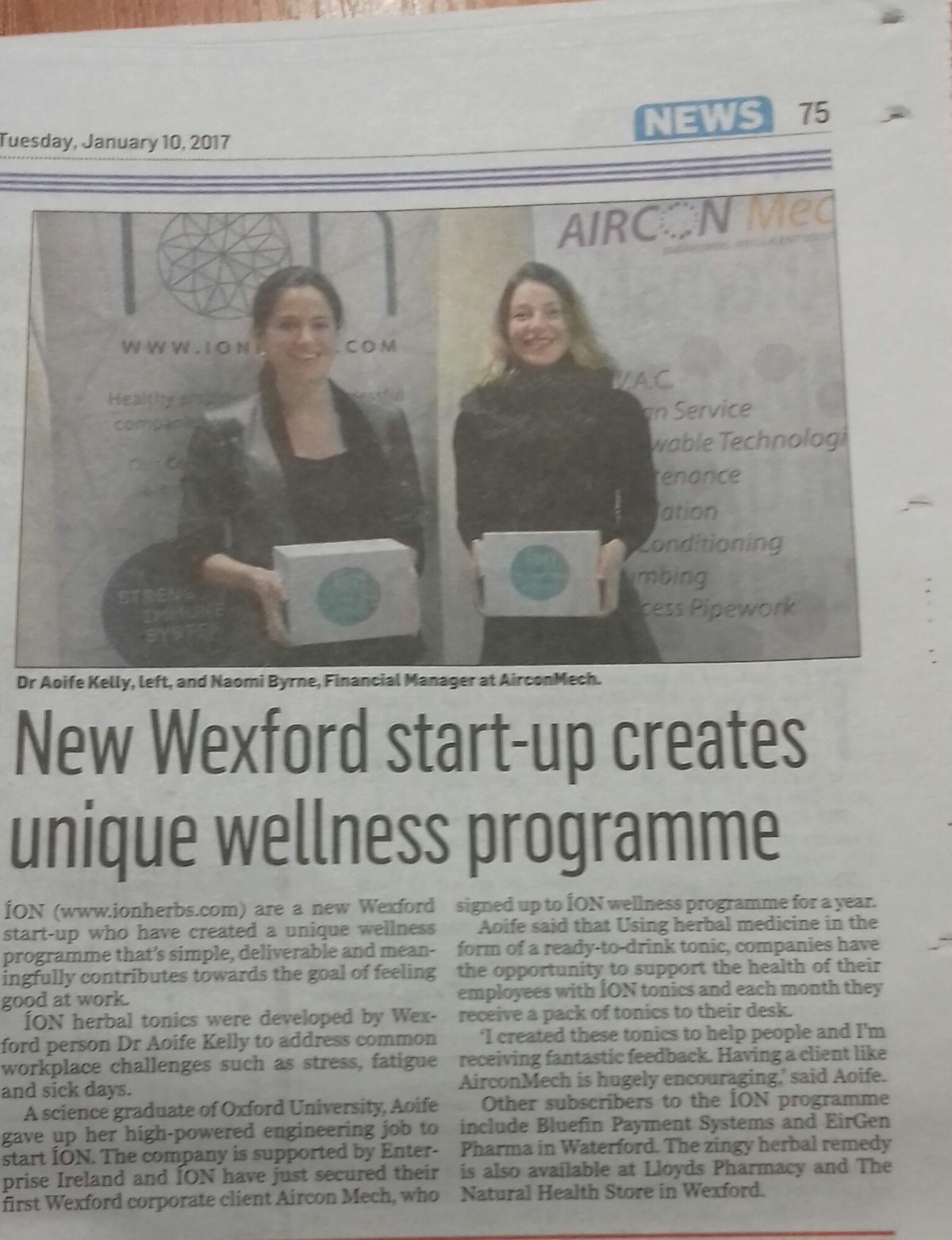Dr Aoife Kelly, Ion Herbal Tonics and Naomi Byrne FInance Manager AMV Systems