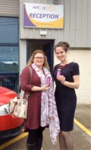 Caroline Buckley receives delivery of Ion Herbal Tonics from Dr Aoife Kelly #Wellnessatwork